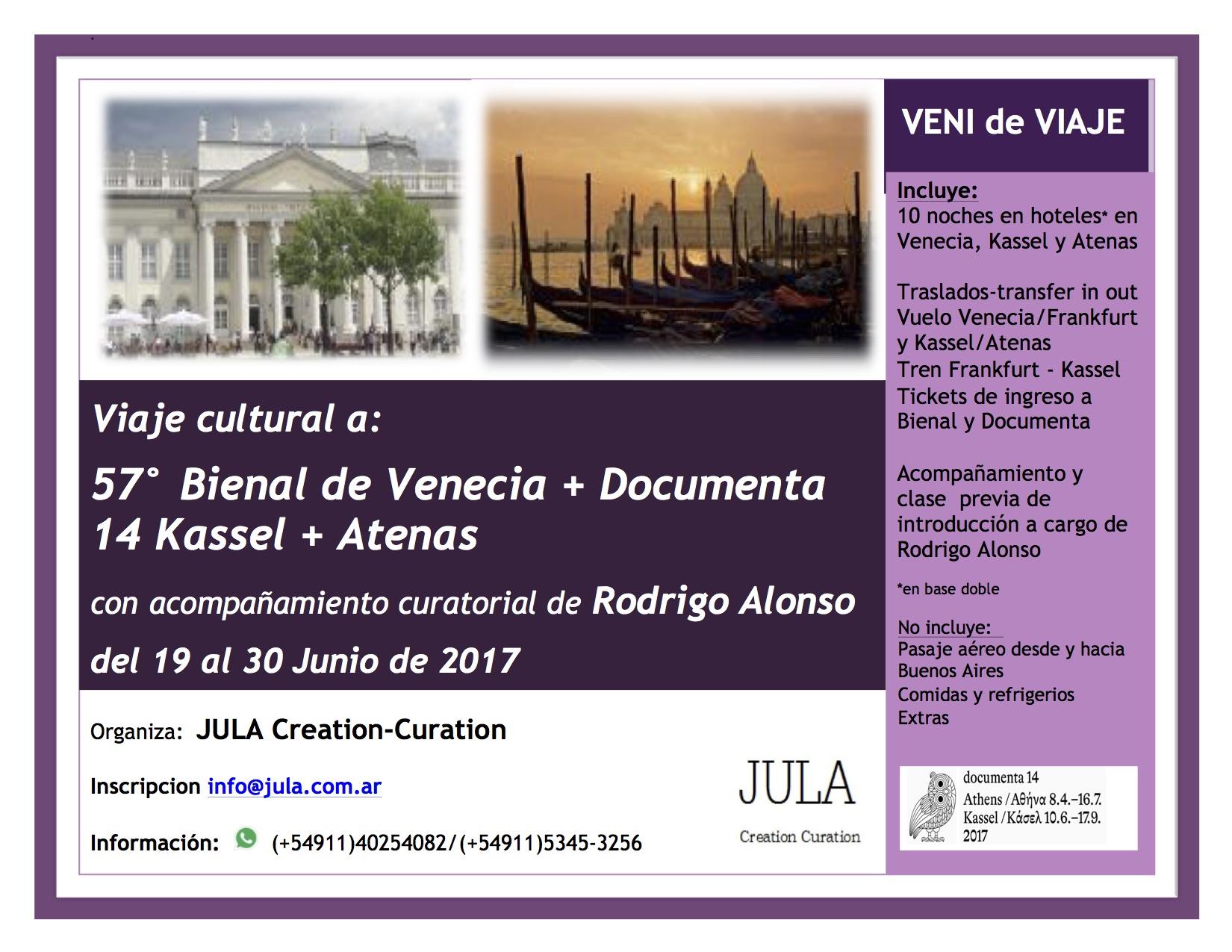 Viaje,54Bienal Venecia,14 Documenta Kassel y Atenas, del 19a30 Junio 2017