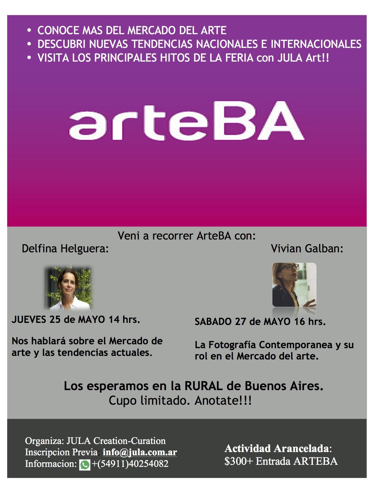ArteBA2017+JULA Art+Visitas Guiadas+Mercado de arte+Tendencias nuevas+Fotografía contemporánea.